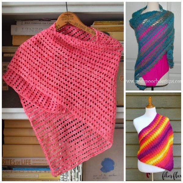 20 Free Beach Crochet Patterns: Roundup via Underground Crafter | 3 shawls and wraps collage