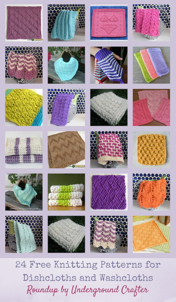 24 Free Knitting Patterns for Dishcloths and Washcloths via Underground Crafter