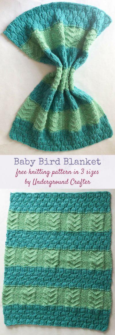 Baby Bird Blanket, free knitting pattern in Lion Brand Heartland in preemie, stroller, and baby blanket sizes by Underground Crafter