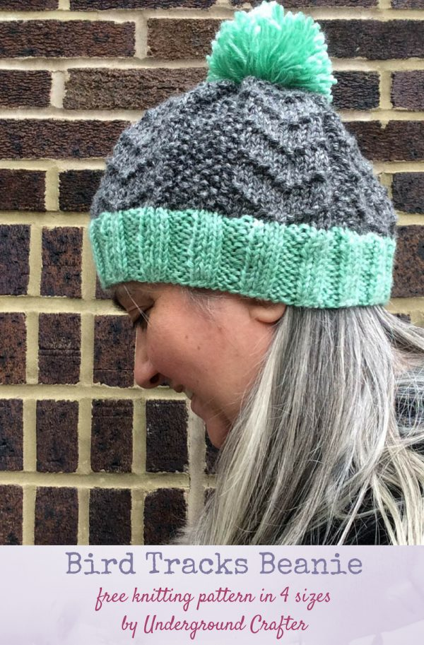 Free knitting pattern: Bird Tracks Beanie in Lion Brand Heartland in 4 sizes by Underground Crafter | This textured beanie features a traveling stitch pattern. Pick your favorite method (knit flat and seamed, or knit seamlessly in the round) to make your version. This pattern is designed to meet the donation requirements of Knots of Love. This is a bonus pattern for the Hummingbird Hat and Baby Bird Blanket Knit-a-Long, a free KAL sponsored by Lion Brand.