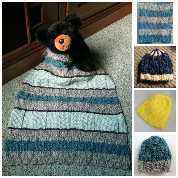Hummingbird Hat and Baby Bird Blanket Knit-a-Long with Underground Crafter, Lion Brand, and Knots of Love | Giveaway winners collage