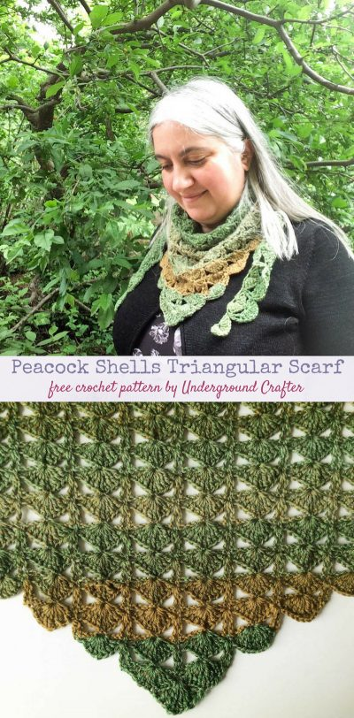 Free crochet pattern: Peacock Shells Triangular Scarf free crochet pattern in Cascade Heritage Wave yarn by Underground Crafter (Scarf of the Month Club 2018)