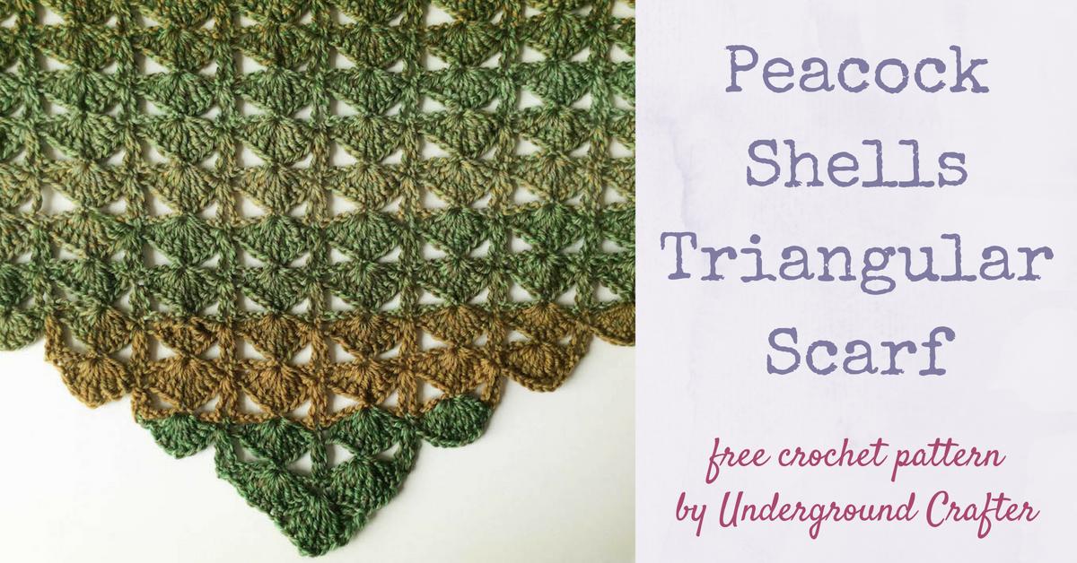 Crochet Pattern: Peacock Shell Triangular Scarf