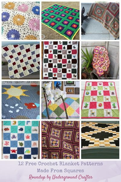 Roundup: 12 Free Crochet Blanket Patterns Made From Squares via Underground Crafter