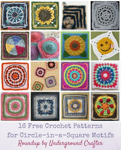 Roundup: 16 Free Crochet Patterns for Circle-in-a-Square Motifs via Underground Crafter