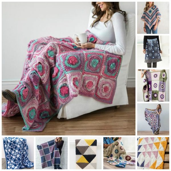 20 Stunning Premium Granny Crochet Patterns (with 10 Pattern & Yarn Kits) via Underground Crafter | Crochet pattern kit collage | Granny Square Month
