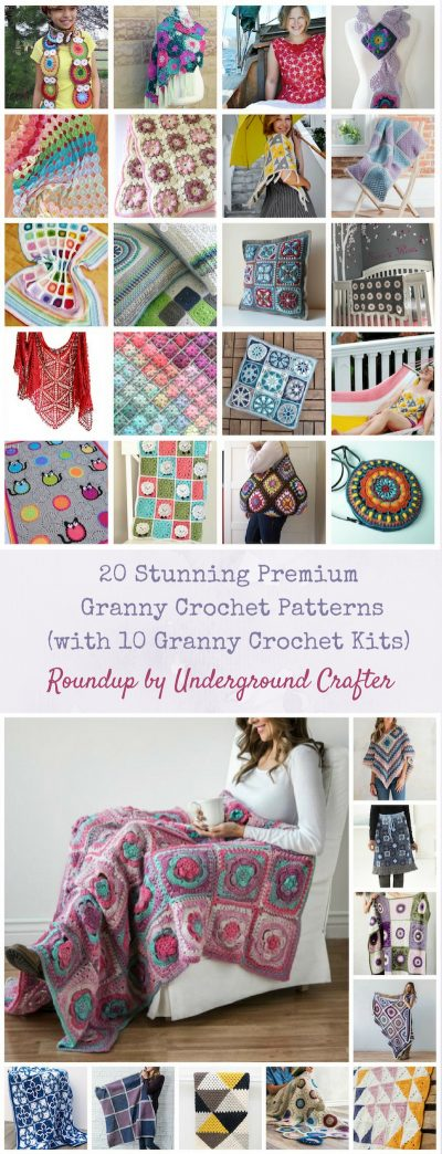 20 Stunning Premium Granny Crochet Patterns (with 10 Pattern & Yarn Kits) via Underground Crafter | Granny Square Month
