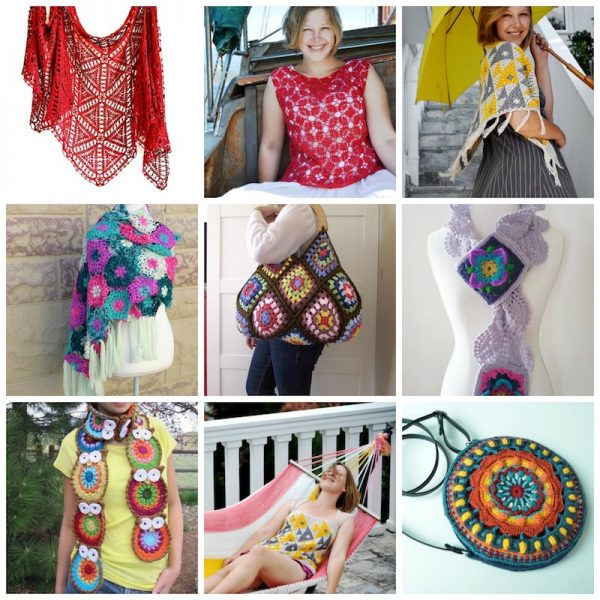 20 Stunning Premium Granny Crochet Patterns (with 10 Pattern & Yarn Kits) via Underground Crafter | 9 garments and accessories collage | Granny Square Month