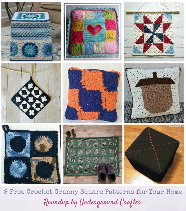 Roundup: 9 Free Crochet Granny Square Patterns for Your Home via Underground Crafter