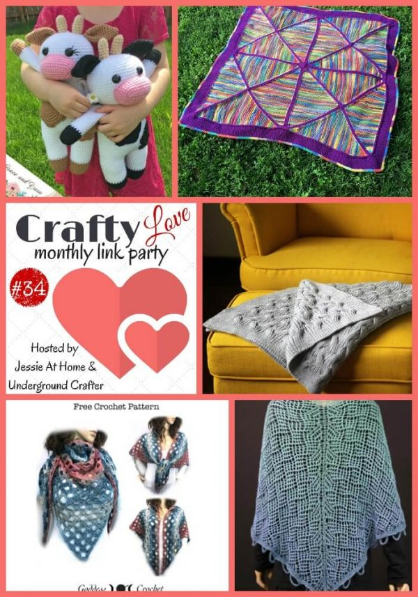 Crafty Love Link Party 34 (June, 2018) with Jessie At Home and Underground Crafter | Collage of top 5 posts from last month, featuring free and premium crochet and knitting patterns by Grace and Yarn, ScrappyDaisyKnits, Kathryn Folkerth, Goddess Crochet, and Tanja Luescher