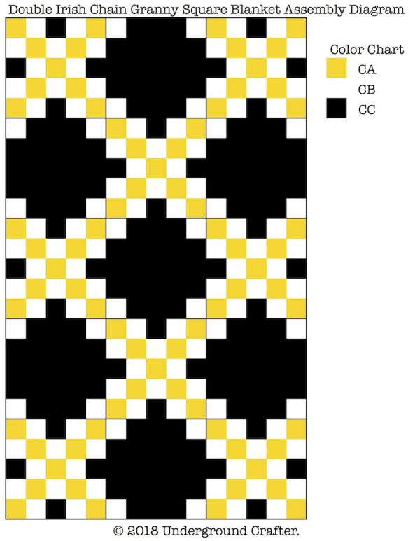 Free crochet pattern: Double Irish Chain Granny Square Blanket by Underground Crafter | Assembly Diagram