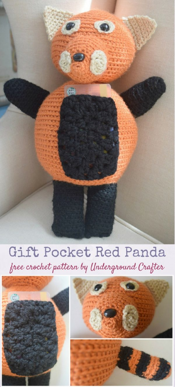 Free crochet pattern: Gift Pocket Red Panda amigurumi by Underground Crafter