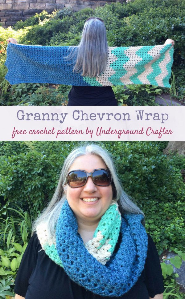Free crochet pattern: Granny Chevron Wrap in Lion Brand Heartland by Underground Crafter - worn outstretched and as scarf