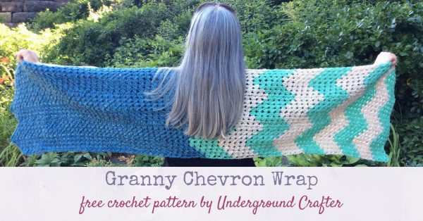 Free crochet pattern: Granny Chevron Wrap in Lion Brand Heartland by Underground Crafter - worn outstretched