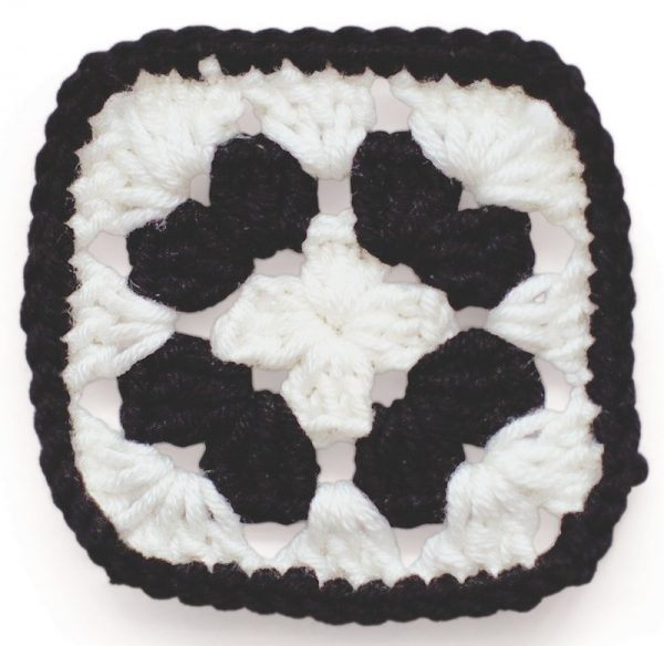 Granny Squares Weekend by Emma Varnam book review with pattern excerpt via Underground Crafter - Panda Cushion (Lovey) granny square