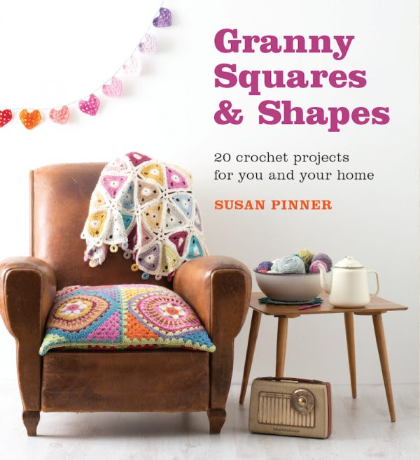 Granny Squares & Shapes by Susan Pinner - book review with Triangle Lap Blanket pattern excerpt on Underground Crafter - book cover