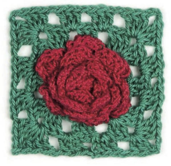 Granny Square Flowers by May Corfield (book review with Rose pattern excerpt via Underground Crafter) - Rose motif flay lay