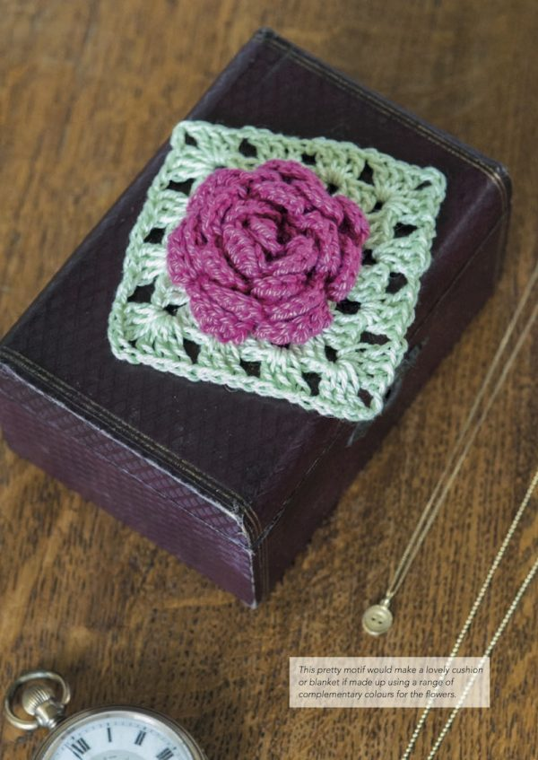Granny Square Flowers by May Corfield (book review with Rose pattern excerpt via Underground Crafter) - Rose motif on box