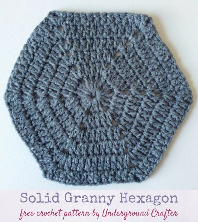 Free crochet pattern: Solid Granny Hexagon in Lion Brand Jeans by Underground Crafter