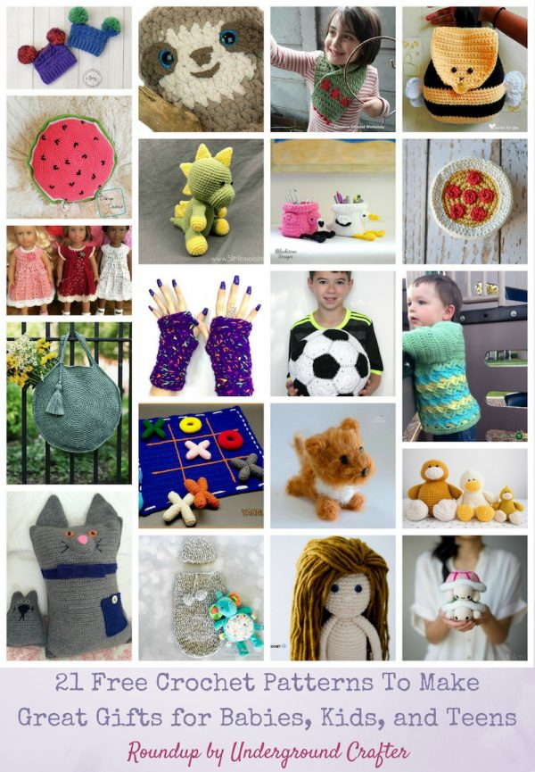 Roundup: 21 Free Crochet Patterns To Make Great Gifts for Babies, Kids, and Teens via Underground Crafter