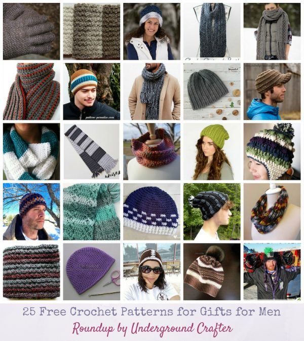Roundup: 25 Free Crochet Patterns for Gifts for Men via Underground Crafter