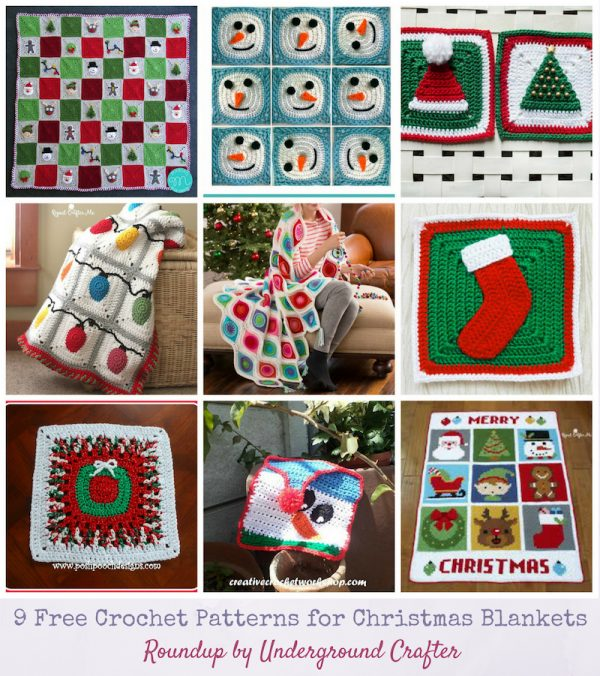 Roundup: 9 Free Crochet Patterns for Christmas Blankets Afghans Throws via Underground Crafter