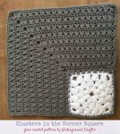 """Free crochet pattern: Clusters in the Corner 12"""" Square in Red Heart With Love by Underground Crafter"""