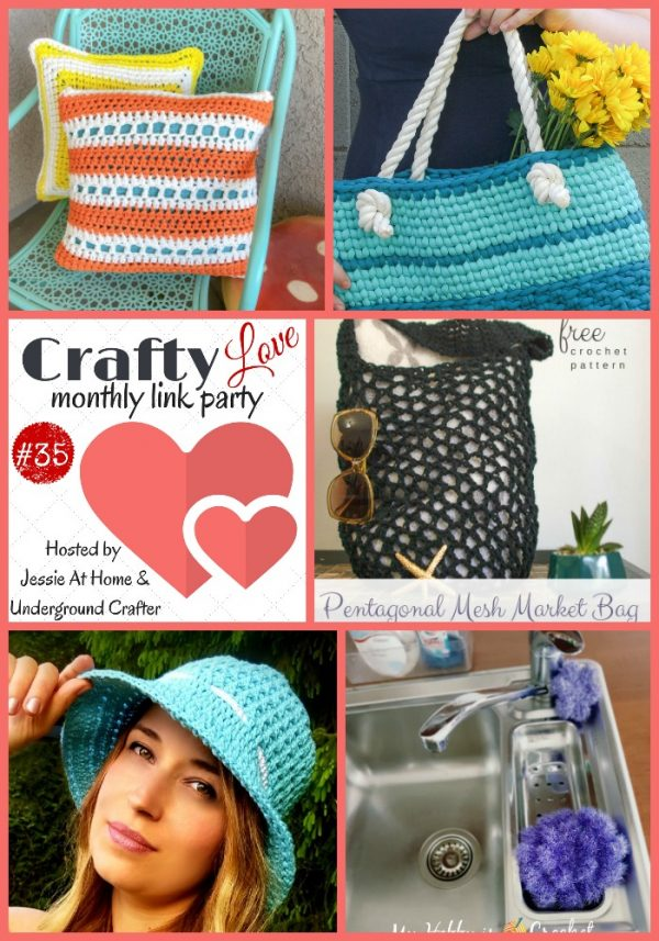 Crafty Love Link Party 35 (July, 2018) with Jessie At Home and Underground Crafter - collage of most clicked on posts from last month, featuring free crochet patterns by Winding Road Crochet, Salty Pearl Crochet, and My Hobby Is Crochet