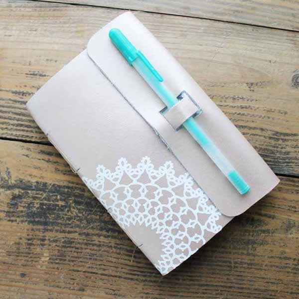 How To Make a Foil Poster Board Gift Box with the Cricut Maker Double Scoring Wheel by Underground Crafter - DIY Leather Notebook by The Country Chic Cottage