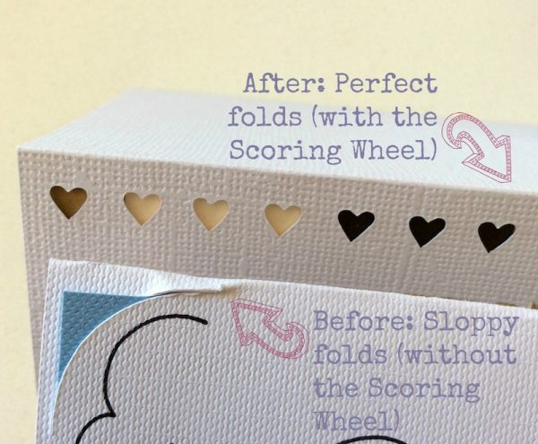 How To Make Picture Perfect Cards (and Other Folds) with the Cricut Maker Scoring Wheel by Underground Crafter - before and after folds