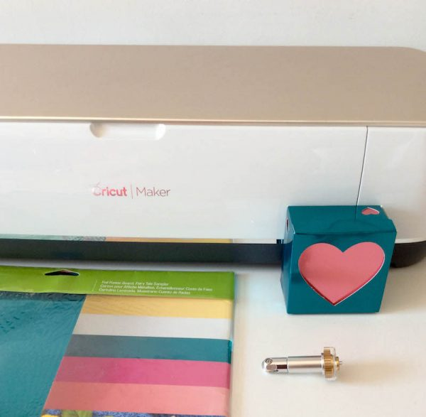 How To Make a Foil Poster Board Gift Box with the Cricut Maker Double Scoring Wheel by Underground Crafter - Cricut Maker, Foil Poster Board, and Double Cutting Wheel with Heart Gift Box