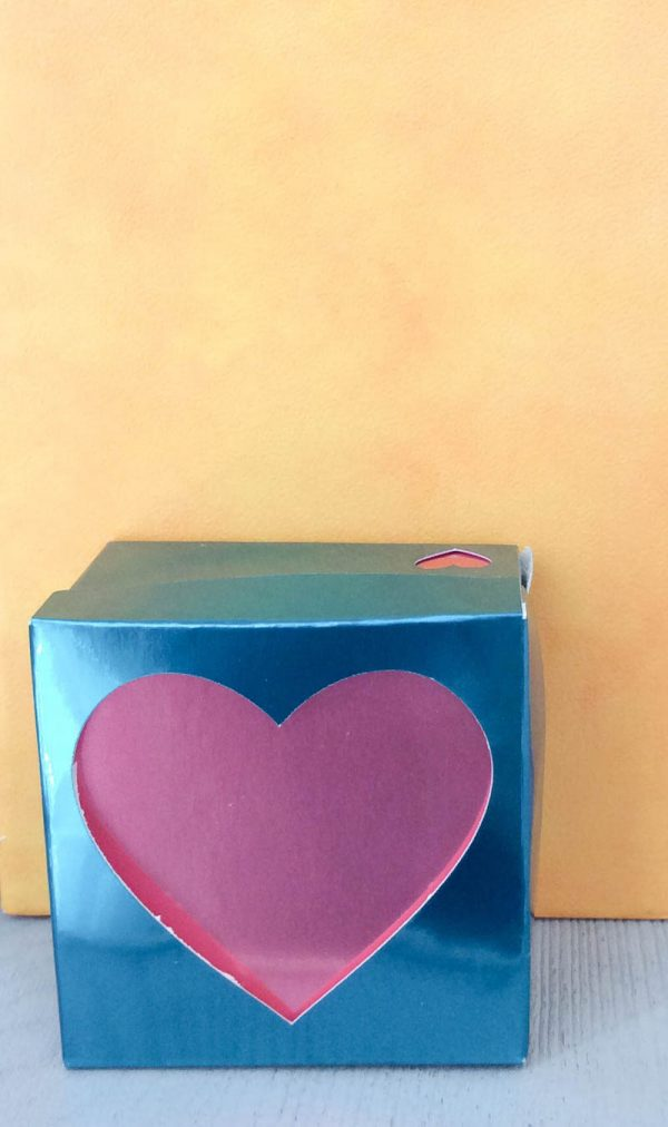 How To Make a Foil Poster Board Gift Box with the Cricut Maker Double Scoring Wheel by Underground Crafter - Heart Gift Box against yellow background