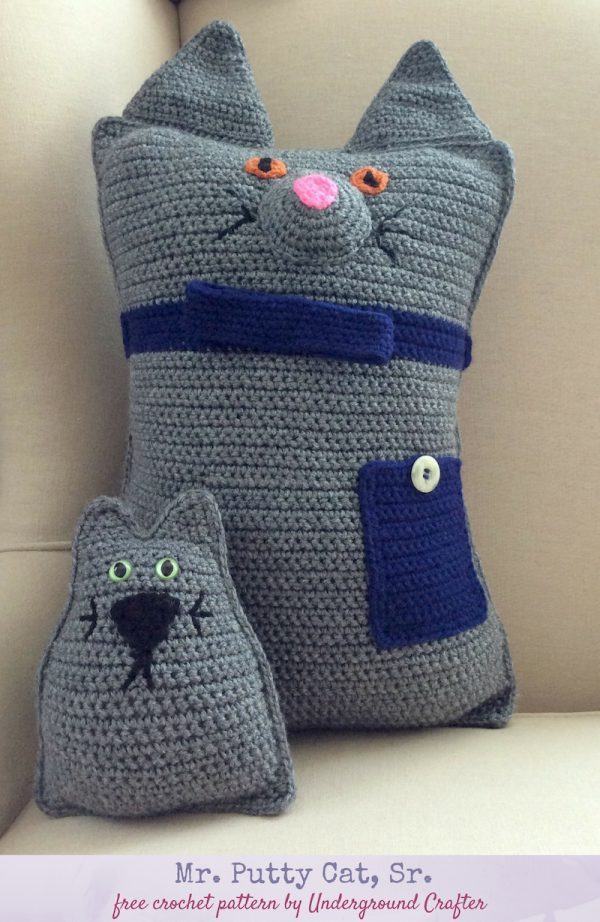 Free crochet pattern: Mr. Putty Cat, Sr. in Red Heart Super Saver, stuffed with Fairfield Royal Silk Fiber Fill by Underground Crafter