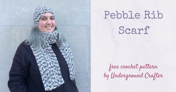 Free crochet pattern: Pebble Rib Scarf in Bernat Maker Home Dec by Underground Crafter