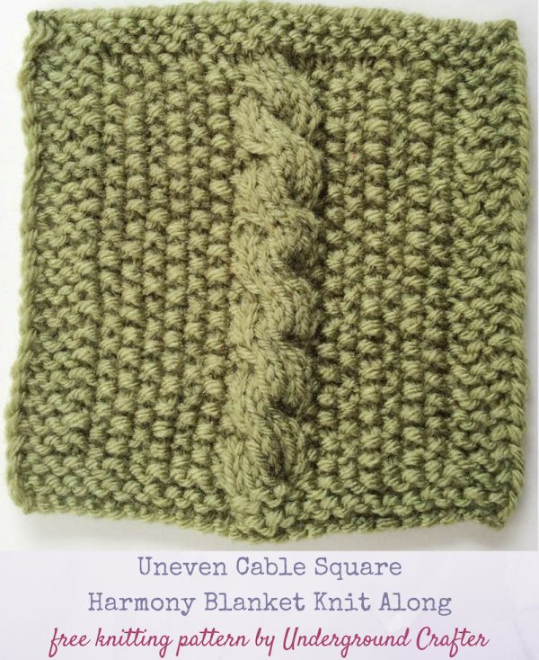Free knitting pattern: Uneven Cable Square (Harmony Blanket Knit Along) in Lion Brand Vanna's Choice yarn by Underground Crafter
