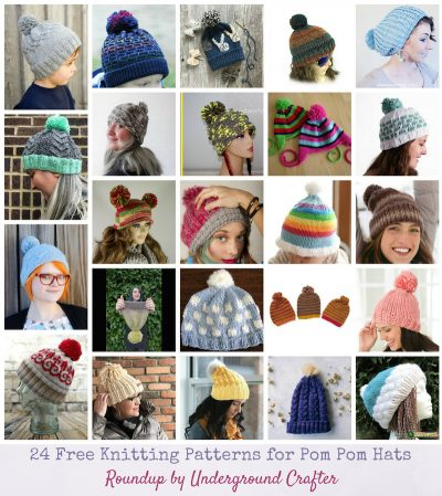 24 Free Knitting Patterns for Pom Pom Hats via Underground Crafter