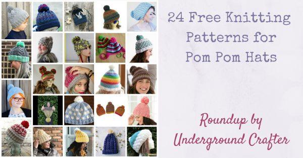 24 Free Knitting Patterns for Pom Pom Hats via Underground Crafter