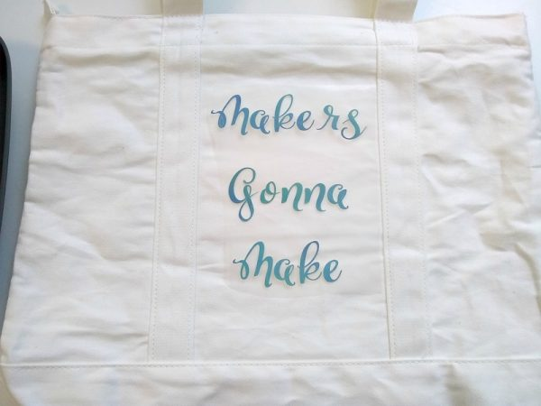 How To Make a Custom Makers Gonna Make Iron-On Bag with Cricut EasyPress 2 by Underground Crafter - iron on at top of bag