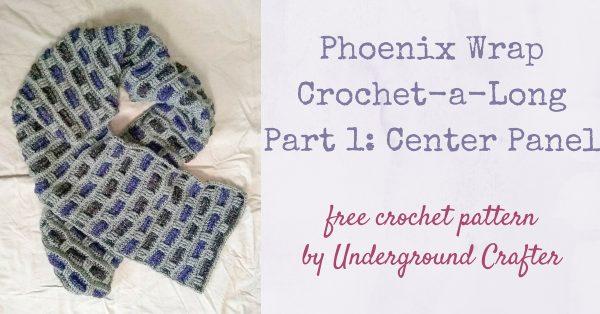 Phoenix Wrap Crochet-a-Long, free crochet pattern by Underground Crafter in Lion Brand Jeans yarn - Part 1: Center Panel