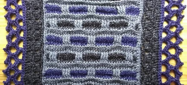 Phoenix Wrap, free crochet pattern in Lion Brand Jeans by Underground Crafter | detail of completed shawl