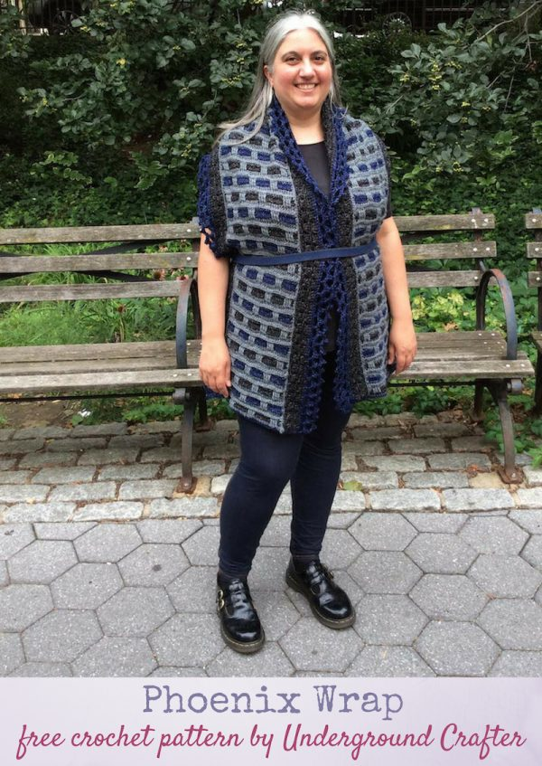 Phoenix Wrap, free crochet pattern in Lion Brand Jeans by Underground Crafter