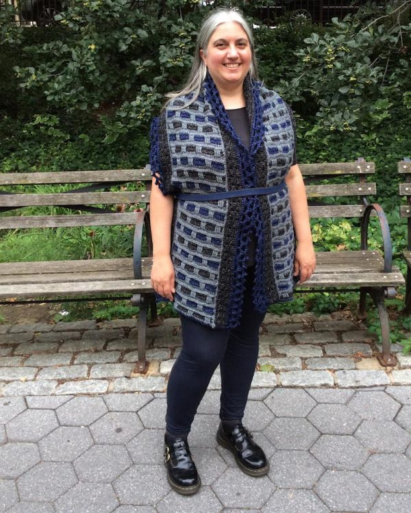 Phoenix Wrap, free crochet pattern in Lion Brand Jeans by Underground Crafter | styling options: The Belted Cardigan