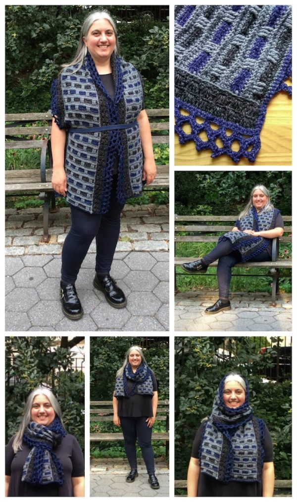 Phoenix Wrap, free crochet pattern in Lion Brand Jeans by Underground Crafter | collage of Phoenix Wrap worn 5 different ways and shawl detail