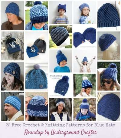 22 Free Crochet and Knitting Patterns for Blue Hats via Underground Crafter