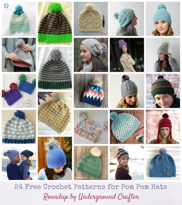 24 Free Crochet Patterns for Pom Pom Hats via Underground Crafter