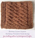 Free #knitting pattern: Broken Lines Square in Lion Brand Vanna's Choice #yarn by Underground Crafter   Harmony Blanket Knit Along Square 38 #KALCorner #undergroundcrafter #lionbrand #freeknittingpattern