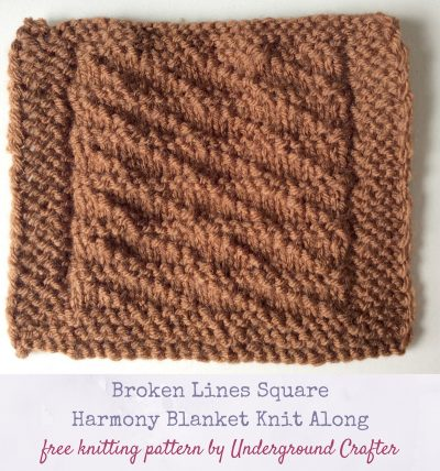 Free #knitting pattern: Broken Lines Square in Lion Brand Vanna's Choice #yarn by Underground Crafter | Harmony Blanket Knit Along Square 38 #KALCorner #undergroundcrafter #lionbrand #freeknittingpattern