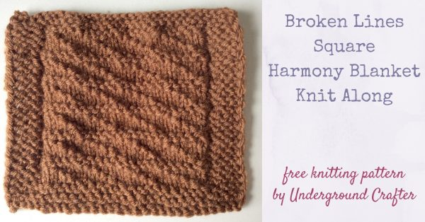 Free knitting pattern: Broken Lines Square in Lion Brand Vanna's Choice yarn by Underground Crafter   Harmony Blanket Knit Along Square 38