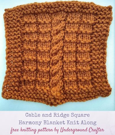 Cable and Ridge Square, free knitting pattern in Lion Brand Vanna's Choice yarn by Underground Crafter