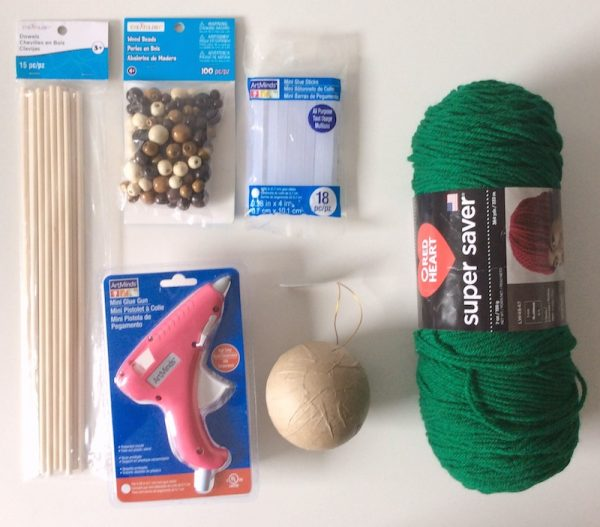 How To Make a Handmade Yarn with Knitting Needles Ornament with Hot Glue - tutorial by Underground Crafter - supplies